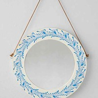 Plum & Bow Wooden Floral Painted Mirror- Blue One