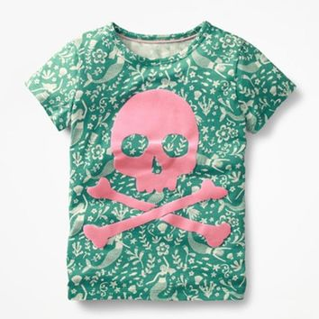 Girls summer clothes short sleeve skull print t shirt cotton