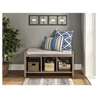 Penelope Entryway Storage Bench with Cushion - Distressed Gray Oak - Dorel Living®