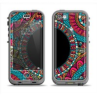 The Vector Colored Aztec Pattern WIth Black Connect Point Apple iPhone 5c LifeProof Nuud Case Skin Set