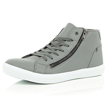 Grey Vegan Snakeskin Trainers