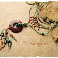 Boho Tribal Necklace, Bohemian Jewelry, Nature Inspired Handmade Beaded Necklace, bohostyleme, Kaye Kraus