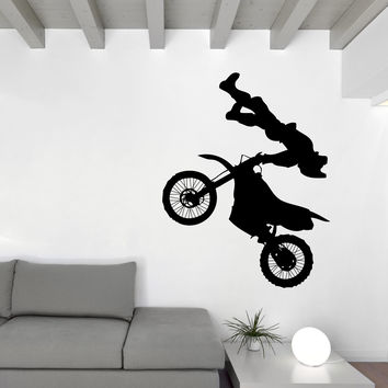 Vinyl Decal Wall Sticker Motorcycle Racer Motocross Jump Stunt Performer Unique Gift (n772)