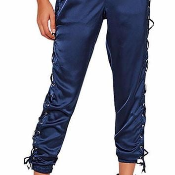 Satin Ankle Lace Up Pants