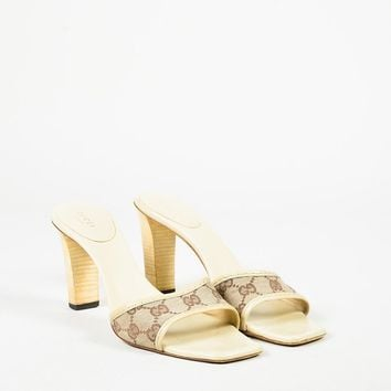 "Gucci Cream & Brown Canvas & Leather ""Original GG"" Monogram Sandals"