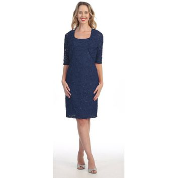 Modest Navy Blue Short Lace Dress With Matching Bolero Jacket