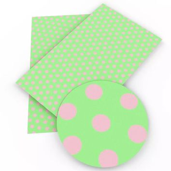 Lime green & pink polka dots faux leather fabric sheet