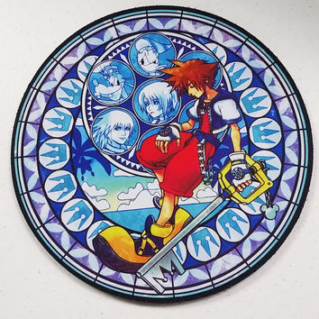 Kingdom Hearts Sora Stained Glass Round 8 inch Neoprene Mousepad