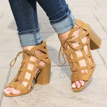 Caged Tie Up Sandal with Heel
