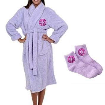 2pc Ladies Plush Robe Set with Glitter Monogram