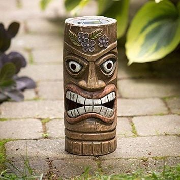 Bits and Pieces - 12 Inch Tall Solar Tiki Statue - Whimsical Light-Up Lawn and Garden Sculpture