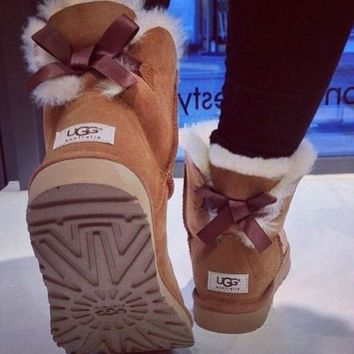 UGG Fashion Women Bow Leather Wool Snow Boots In Tube Boots Shoes
