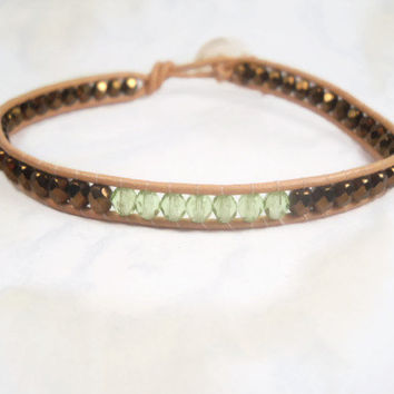 Wrap Bracelet Brown Green Beaded Bracelet