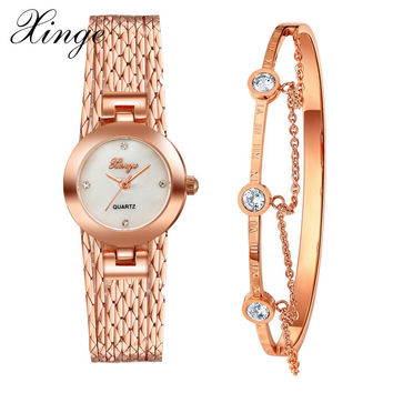 Xinge Brand Luxury Set Women New Fashion Gold Watch Crystal Watches Female Quartz Wristwatches Lady Dress Watch XG10981