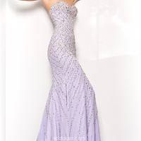 Long Beaded Strapless Sweetheart Dress