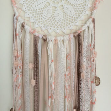 Large dreamcatcher - white, taupe and Salmon