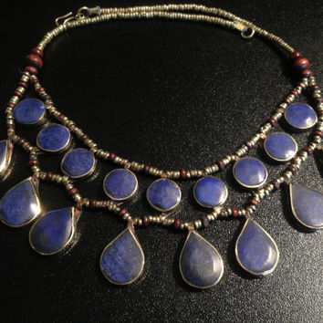 Vintage Lapis Necklace-Kuchi Jewellery-Kuchi Tribe Necklace-Handcrafted-Tribal-Nomads Jewellery-Gypsy/Hippie/Ethnic