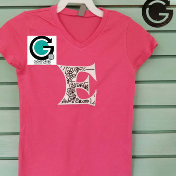 CUSTOM Girls Color Me Applique Initial Shirt -- Perfect Gift, Color Yourself! Great for Parties!