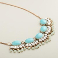 Gold Aqua and White Bauble Statement Necklace