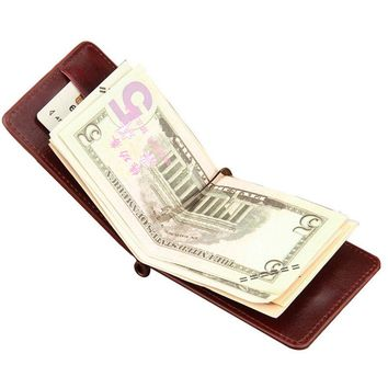 Famous brand Mini Men's leather money clip wallet with coin pocket card slots Thin purse for man magnet hasp