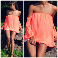 Melrose Neon Coral Off Shoulder Chiffon Top