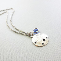 Sand dollar Necklace, Beach Lover, Ocean, Seashell, Nautical Jewelry, Birthday Gift, Silver Jewelry, Swarovski Channel Birthstone Crystal