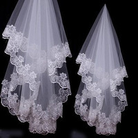 Ivory Beautiful Fingertip Length Wedding Veils with Lace Applique Edge = 1932579268
