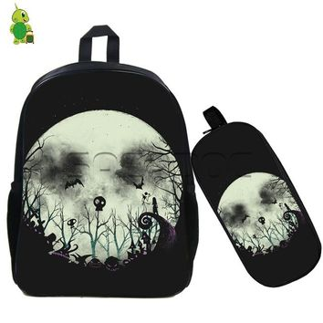 Anime Backpack School kawaii cute The Nightmare Before Christmas outline backpack for teenagers 2 pcs/set school bags pumpkin king jack sally travel bags AT_60_4