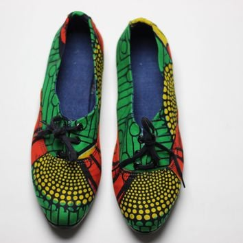 African Print /Ankara Flat Shoes (with laces) - Yellow,Red and Green Floral Print.