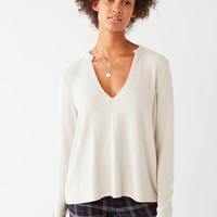 Project Social T Cozy Notched Long Sleeve Top | Urban Outfitters