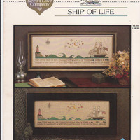 """Ship of Life counted cross stitch chart 8"""" x 24"""" schooner ship, lighthouse designed by Renee Nanneman for The Need'l Love Company"""