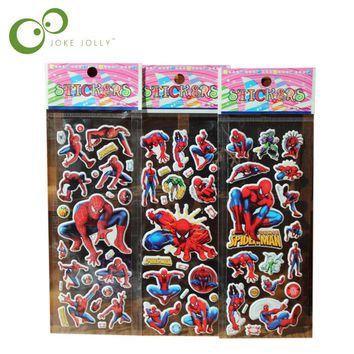 5pcs/lot Bubble Stickers 3D Cartoon the Spider man Classic Toys Scrapbook For Kids Children Gift Reward Sticker GYH