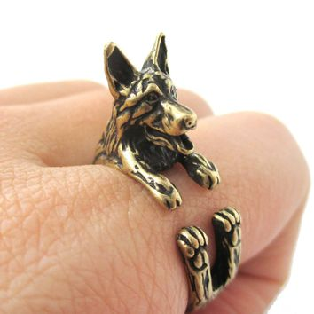 Realistic German Shepherd Shaped Animal Wrap Ring in Brass | Sizes 4 to 8.5