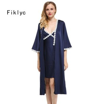 Fiklyc brand robe & gown sets lace floral edge sexy women's long bathrobes with mini nightdress two pieces robe gown sets hot