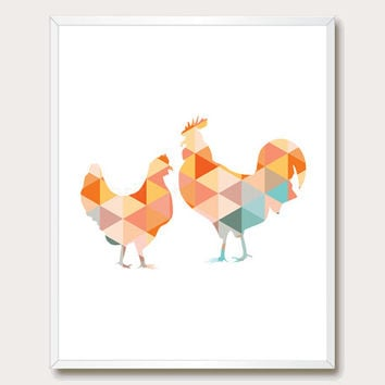 Farm Animal Print. Geometric Farm Animal Wall Art. Chicken Silhouette. Orange Farm Animal Printable. Instant Download