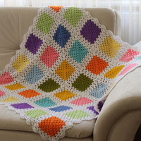 Crocheted Afghan Babies Blanket / Multicolor Granny Blanket / Gift for Baby Shower / Ready to Shipping / Gift for Newborn