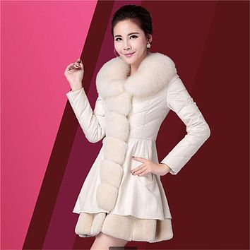 Latest Women PU leather Parka Imitation Fur Collar Coat Slim Pure color White duck down PU leather Coat Women's clothes B207