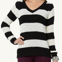 Wide Striped V-Neck Sweater