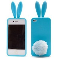 Cute Rabbit Silicone Bunny Case For iPhone 4S with Furry Tail - Blue (Tail is a Stander, not attached on the case)