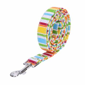 S/M/L Pet Small Dog Puppy Cat  Rainbow Color Canvas Harness Collar Leash Lead Adjustable For Pet Cat Dog