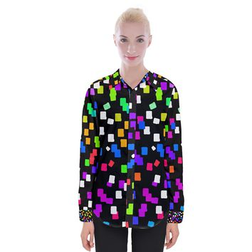 Colorful Rectangles On A Black Background Women Long Sleeve Shirt Womens Long Sleeve Shirt