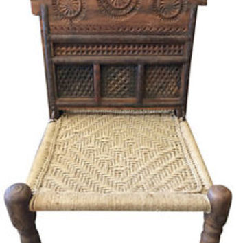 India Rope Chairs Horse Head Jaipur Design Wood Carving Outdoor Chair Antique