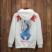 Newest Teenager Hip Hop Pullover Hoodies Middle Finger Printing Plus Velvet High Quality Hoodie Sweater Tops Sizes S-2XL