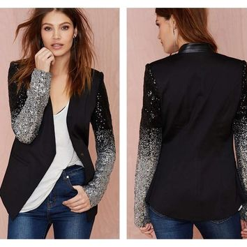 Women Black Silver Sequins Jackets