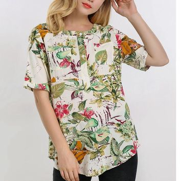 Pregnant Women Blouses Shirts Boho Floral Print Roll Up Tops Summer Short Sleeve Casual Loose O Neck Maternity Clothings 5XL