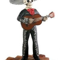 Mariachi Band Guitar Player in Black, Day of the Dead Statue - T78090