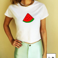 Watermelon T Shirt crop top illustration Unisex White S M L XL Tumblr Instagram Blogger