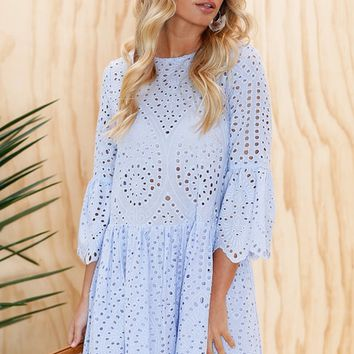 Little Hearts Dress CORNFLOWER BLUE