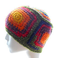 Upcycled beanie hat, men's or women's crocheted beanie hat, 5-Square Beanie Hat, wool-cotton hat, eco fashion, extra small to small hat