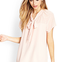 FOREVER 21 Swiss Dot Self-Tie Blouse Peach